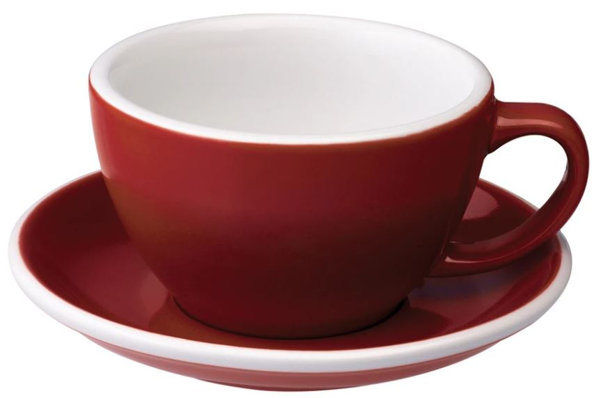 C088-59BRE 	 150ml Flat White Cup 	 RED  	 EGG SET OF 6