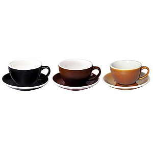150ML FLAT WHITE CUPS (BLACK, BROWN, CARAMEL) SET OF 6