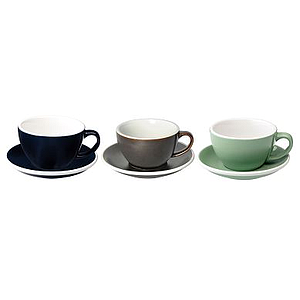 200ML CAPPUCCINO CUPS (DENIM, GUNPOWDER, MINT) SET OF 6