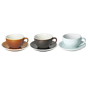 250ML CAPPUCCINO CUPS (CARAMEL, GUNPOWDER, RIVER BLUE) SET OF 6