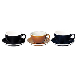 300ML LATTE CUPS (BLACK, CARAMEL, DENIM) SET OF 6