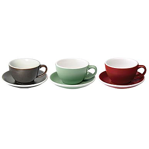 300ML LATTE CUPS (GUNPOWDER, MINT, RED) SET OF 6