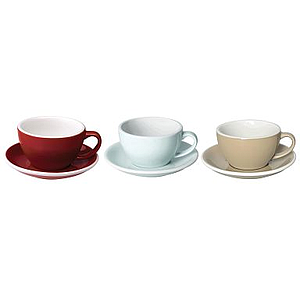 150ML FLAT WHITE CUPS (RED, RIVER BLUE, TAUPE) SET OF 6