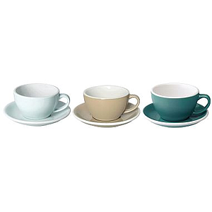 300ML LATTE CUPS (RIVERBLUE, TAUPE, TEAL) SET OF 6