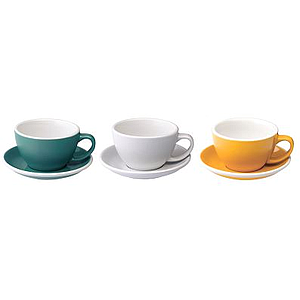 300ML LATTE CUPS (TEAL, WHITE, YELLOW)  SET OF 6